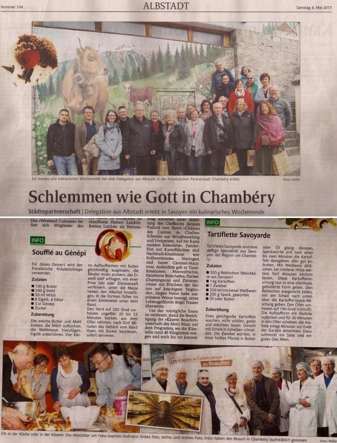 """""""Schlemmen wie Gott in Chambéry"""" (Faire bombance comme Dieu à Chambéry) article paru dans le journal d'Albstadt """"Schwarzwälder Bote"""" pour la rencontre culinaire avec nos amis d'Albstadt à Chambéry, on peut même y trouver les recettes de la Tartiflette et du soufflé au Génépi... dans la langue de Goethe !"""