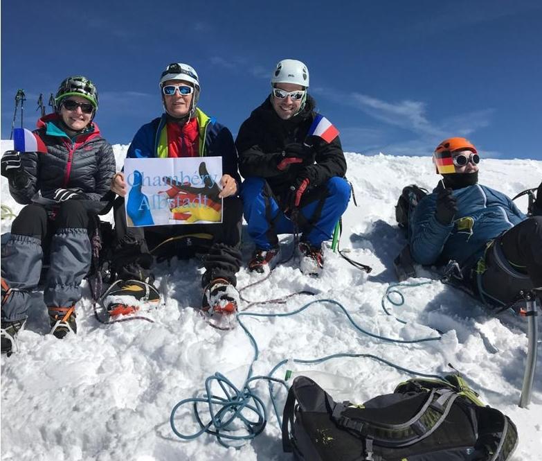 L'équipe franco-allemande au sommet du Mont Blanc